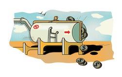 Dólares do óleo Um tanque aglomerado do óleo sob a forma de uma bolsa de que as moedas do dólar derramam para fora O preço do óle ilustração stock