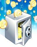Dólares do cofre forte e da queda ilustração royalty free