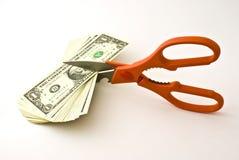 Dólares do corte das tesouras Fotos de Stock Royalty Free