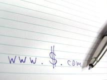 Dólares do dotcom do dinheiro Imagem de Stock