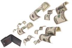 Dólares do funcionamento longe da carteira isolada Fotos de Stock Royalty Free