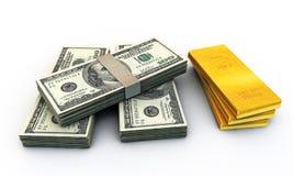 Dólares do stak e muitos lingotes do ouro Fotografia de Stock