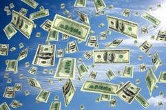 Dólares do vôo do dinheiro Fotografia de Stock Royalty Free