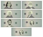 Dólares do vetor ajustado cédulas Moeda dos E.U. dos desenhos animados Dinheiro americano Bill Isolated Illustration Símbolo do d ilustração do vetor