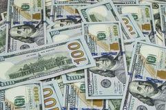 Dólares dos EUA, EUA $ 100, 100 imagens velhas e novas do dólar, grandes imagens do dólar em conceitos diferentes para a finança  Imagem de Stock
