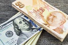 Dólares dos EUA, EUA $ 100, 100 imagens velhas e novas do dólar, grandes imagens do dólar em conceitos diferentes para a finança  Fotografia de Stock