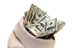 Dólares dos EUA no saco isolado Imagem de Stock