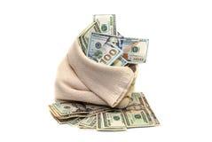 Dólares dos EUA no saco isolado Foto de Stock