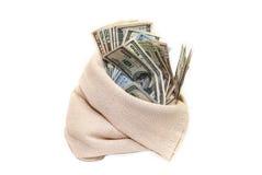 Dólares dos EUA no saco isolado Fotos de Stock Royalty Free