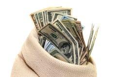 Dólares dos EUA no saco isolado Imagens de Stock Royalty Free