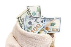 Dólares dos EUA no saco isolado Fotografia de Stock