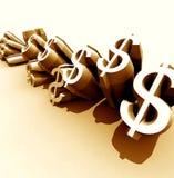 Dólares dourados Fotografia de Stock Royalty Free