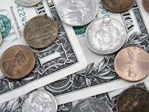Dólares e centavos Fotografia de Stock