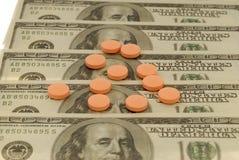 Dólares e drogas Fotografia de Stock Royalty Free