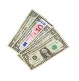 Dólares e euro Imagem de Stock Royalty Free