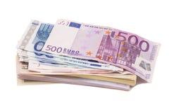 Dólares e euro- dinheiro Fotos de Stock