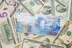 Dólares e francos suíços Imagens de Stock Royalty Free