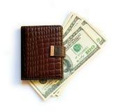 Dólares e livro de nota Imagens de Stock