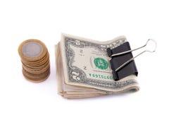 Dólares e moedas Imagem de Stock Royalty Free