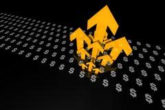 Dólares e setas Fotografia de Stock
