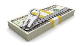 Dólares e zíper (trajeto de grampeamento incluído) Fotos de Stock