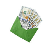 Dólares em um envelope em um fundo branco Imagem de Stock