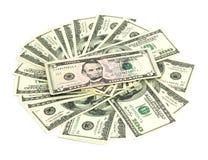 Dólares em um fundo branco Foto de Stock