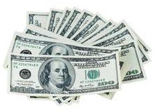 Dólares em um fundo branco Imagens de Stock Royalty Free