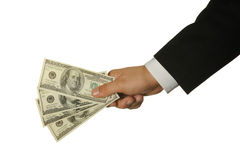 Dólares em uma mão do homem de negócios Fotos de Stock Royalty Free