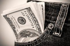 Dólares en bolsillo Fotos de archivo