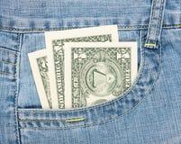 Dólares en el bolsillo Imagenes de archivo