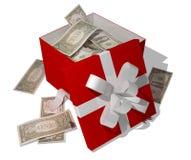 Dólares en giftbox Fotografía de archivo