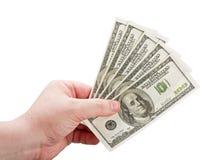 Dólares en la mano del hombre Imagen de archivo