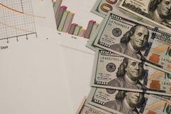 Dólares en los documentos de negocio, política de empresa fotografía de archivo