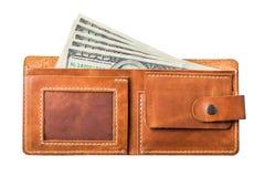 Dólares en monedero Fotos de archivo libres de regalías
