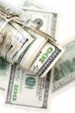 Dólares en tarro del dinero Fotografía de archivo