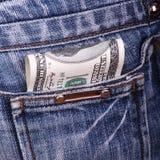Dólares en un bolsillo Foto de archivo libre de regalías