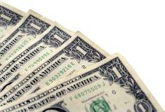 Dólares en un fondo blanco, primer Fotografía de archivo libre de regalías