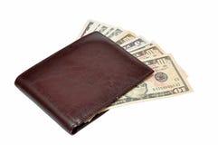 Dólares en un monedero Imagen de archivo libre de regalías