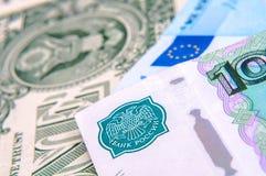 Dólares, euro, rublos russian Imagens de Stock
