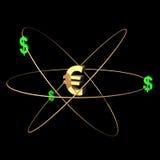 Dólares euro y verdes del oro Imagenes de archivo