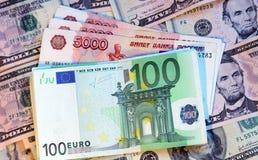 Dólares, euros y rublos rusas modernas Imagenes de archivo
