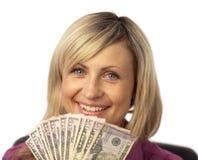 Dólares felizes da terra arrendada da mulher Foto de Stock Royalty Free