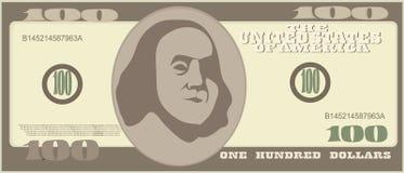 100 dólares Iconos de la cuenta de dinero Billetes de banco detallados de la moneda Vector Foto de archivo