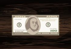 100 dólares Iconos de la cuenta de dinero Billetes de banco detallados de la moneda Carto Imagen de archivo