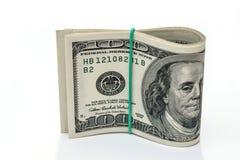100 dólares isolados em um fundo branco Imagem de Stock