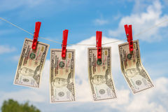 Dólares lavados planchados secados Fotografía de archivo libre de regalías