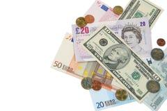Dólares, libras y euros Fotos de archivo libres de regalías
