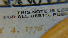 Dólares macros Imagen muy detallada del dinero americano metrajes