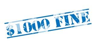 1000 dólares multam o selo azul Imagens de Stock